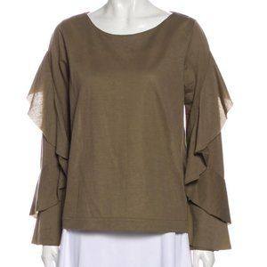 Dorothee Schumacher Olive Green L/S Knit Blouse